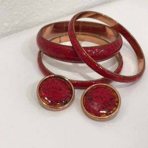 Vintage 1950's red enamel bracelet & earring set